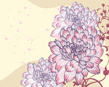 slick: background with decorative chrysanthemums
