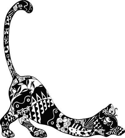 silueta de gato negro: gato con un ornamento en el cuerpo