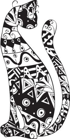 silueta gato negro: gato con un ornamento en el cuerpo