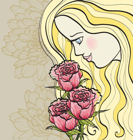 girl and roses Stock Vector - 8598008