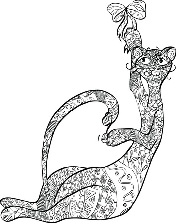 cat with an ornament on the body Vector
