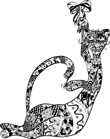 gato con un adorno en el cuerpo Vectores