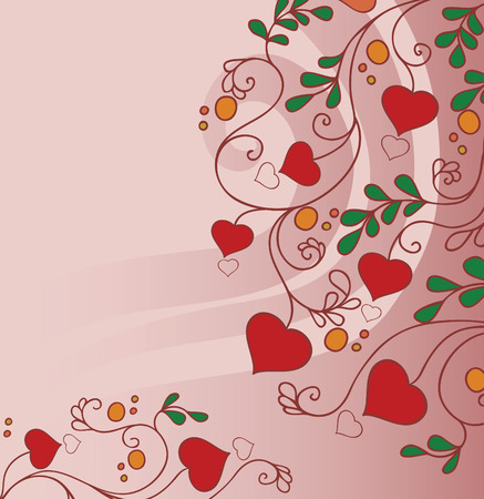 background with flowers and hearts Vector