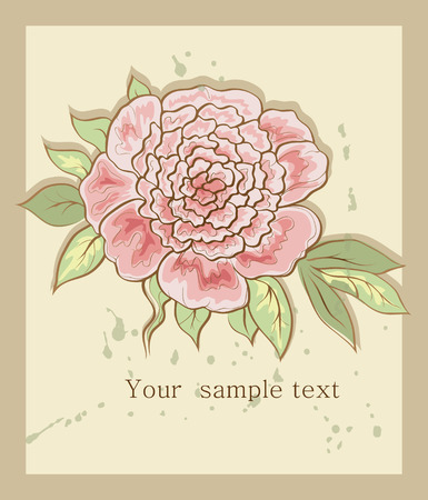 vintage background with peony Vector