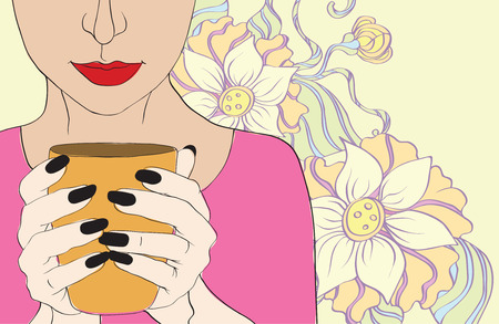 girl and cup Vector