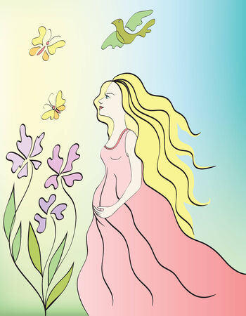 young pregnant woman in the garden Vector