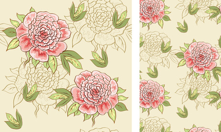 seamless backgriund with peonies Vector