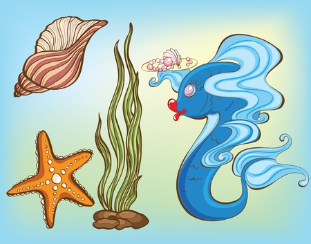 set of sea animals and plants Stock Vector - 9095463