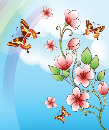 sky background with butterflies and flowers Vector