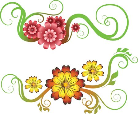 two decorative flowers Stock Vector - 9149572