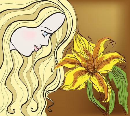 girl with lily Vector