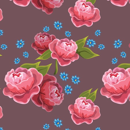 seamless background with peony Vector