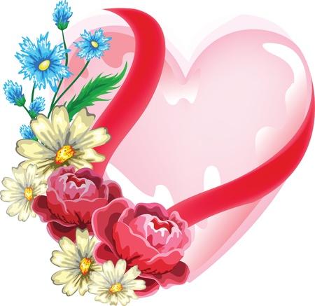 coraz�n con flores