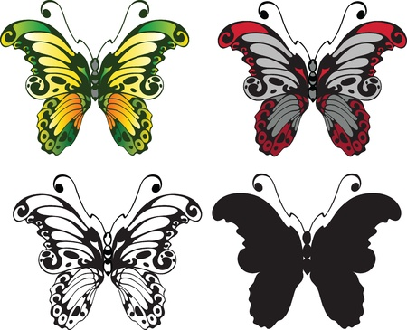 set of decorative butterflies isolated on white background Stock Vector - 10091322