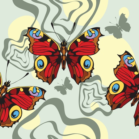 beautify: seamless background with decorative nice butterflies Illustration