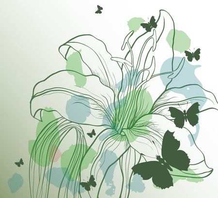 beautify: green backround with decorative flower and butterflies Illustration