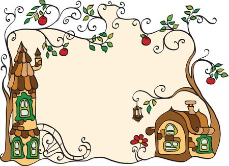 windows frame: decorative frame with houses and trees Illustration