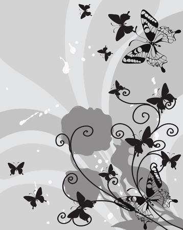 background with decorative flower and butterflies Vector
