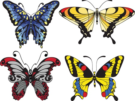 stencil art: set of  butterflies Illustration
