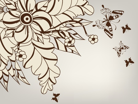 beautify: background with decorative flower and butterflies Illustration