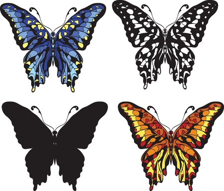 set of decorative butterflies isolated on white background Vector