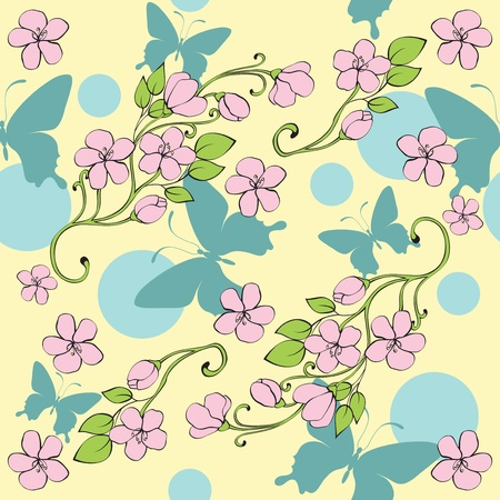 seamless background with decorative nice butterflies and flowers Stock Vector - 10172271