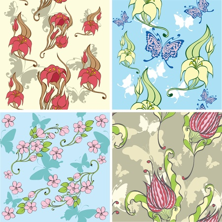 set of decorative butterflies isolated on white background Stock Vector - 10172284