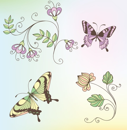 set of flowers and butterflies Vector