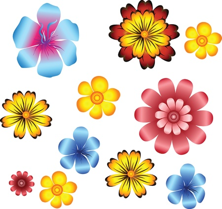 conjunto de flores Vectores