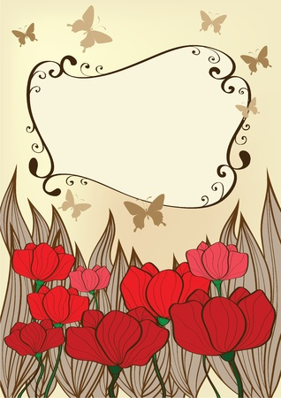 background with poppies and butterflies Vector