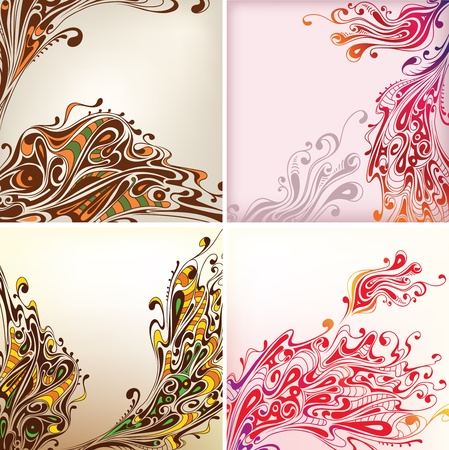 scroll shape: set of seamless background with decorative flowers