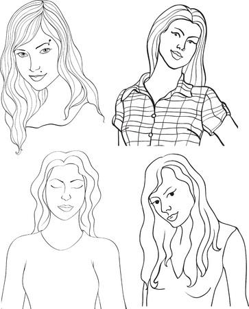 sexy teenage girl: set of girls isolated on white background Illustration