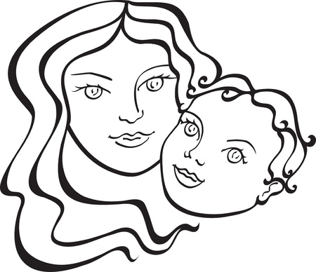 mother and baby isolated on white background Stock Vector - 10301042