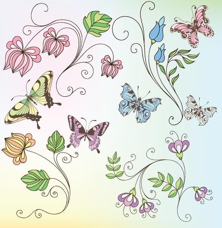 un conjunto de flores y mariposas Vectores
