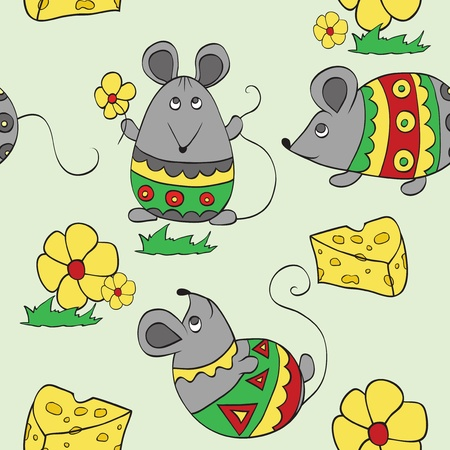 seamless background with decorative mouses Vector