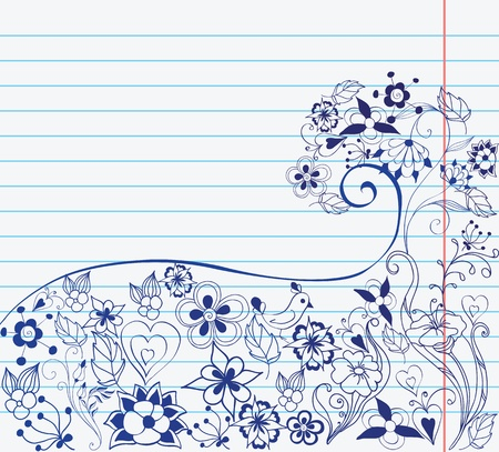 flowers on sheet of paper Vector