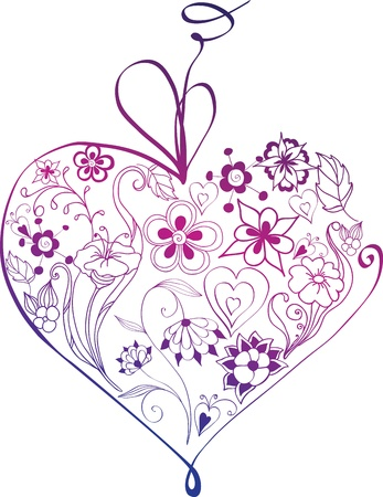 purple roses: floral heart