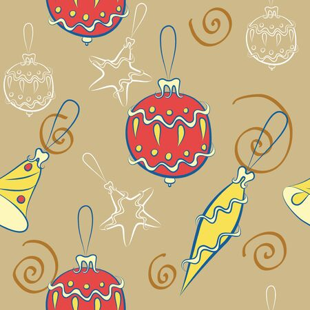 seamless background with Christmas decorations Vector