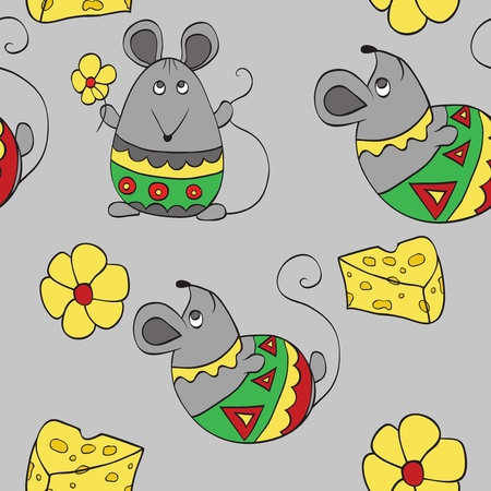 cheese cartoon: seamless background with decorative mouses