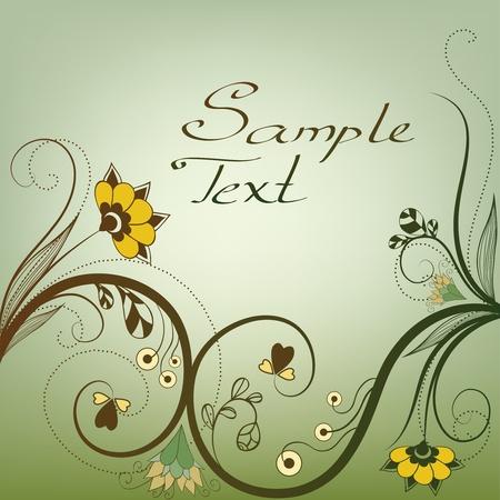linework: floral card Illustration