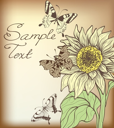 decorative card with sunflower and butterflies Stock Vector - 10798164