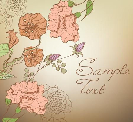 geranium: Floral cute background. Illustration