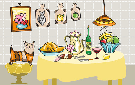 dinner with a cat Vector