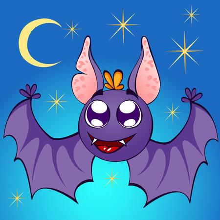 illustration of nice bat on night background