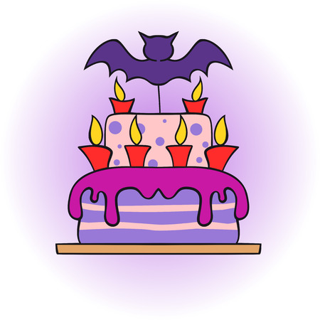 shortbread: icon halloween cake with bat and candles