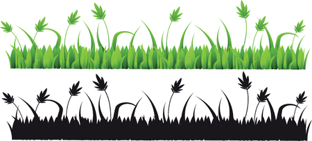 silhouette grass for design isolated on white background