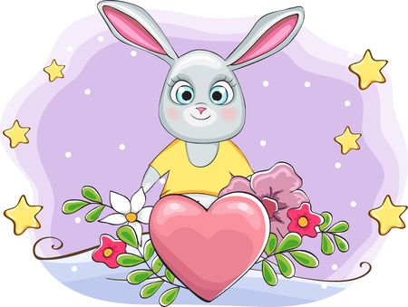 cute rabbit with heart on Happy Valentines day card