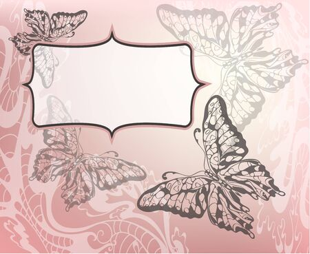 pink backround with decorative flower and butterflies