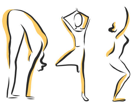 Yoga Vector set of sketchy yoga woman poses. Set of linear images of yoga poses. Vettoriali