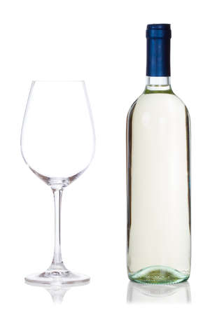 bottle of white wine and glass isolated on white background photo